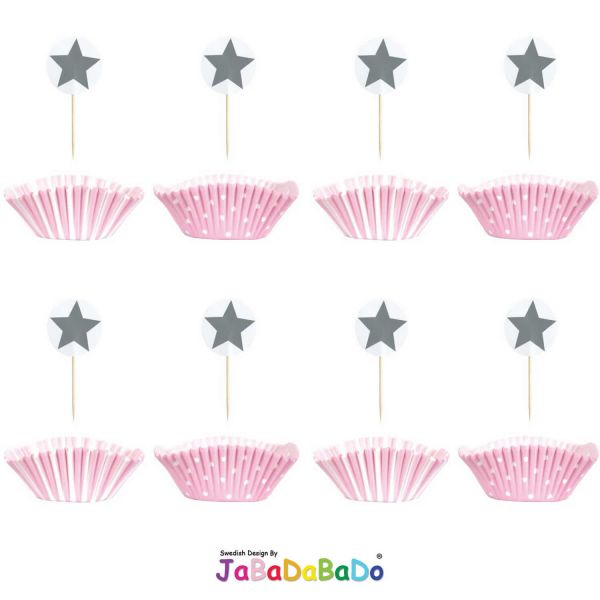 JaBaDaBaDo 24tlg Cupcake Set rosa rot Muffin Backförmchen Geburtstag Z17144