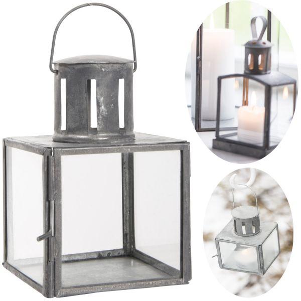 Mini Laterne Windlicht 11cm Metall Grau Teelicht Stumpenkerze