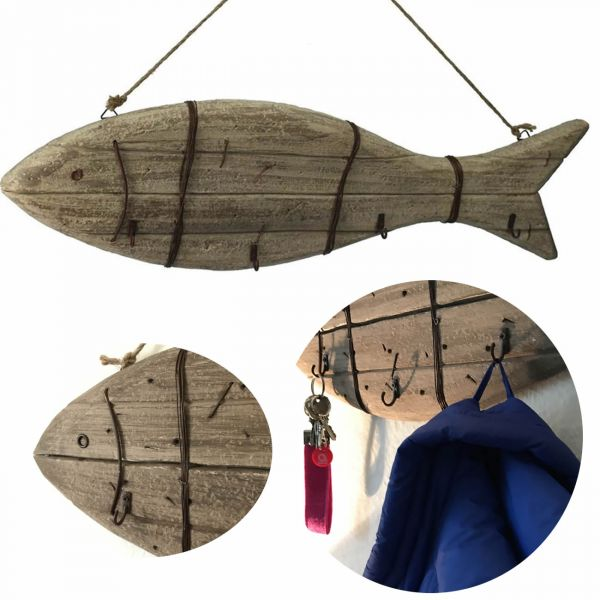XXL Holz Wandgarderobe Garderobe 4 Haken Fisch Maritim Braun rustikal