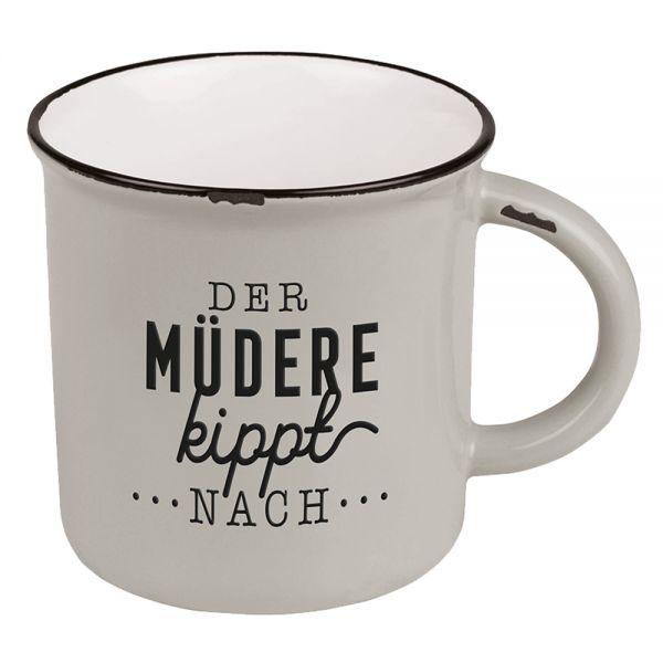 Vintage Kaffeebecher 470ml Porzellan Der Müdere Emaille-Look Kaffeetasse