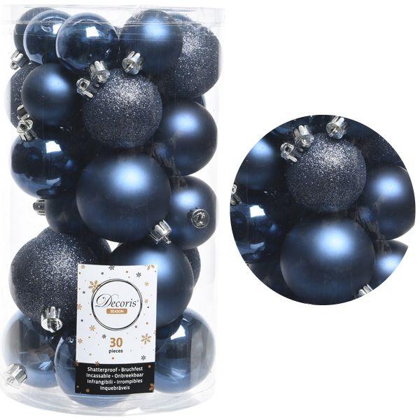 30 Kunststoff Weihnachtskugeln Blau Nachtblau 4cm-6cm Baumkugel Dekokugel