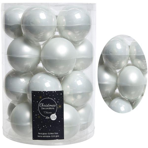 18-20 Design Glas Weihnachtskugeln 6cm Winter Weiß Christbaum Dekokugel