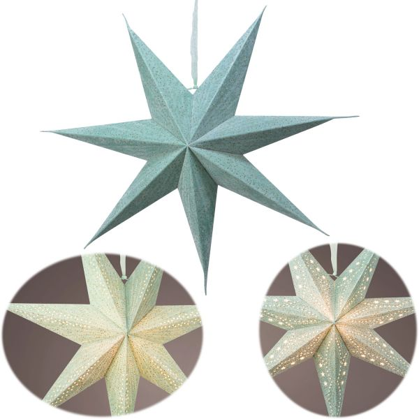 3D Samt Leuchtstern Ø 60cm FSC Grün Beleuchtet Weihnachtsstern Papierstern
