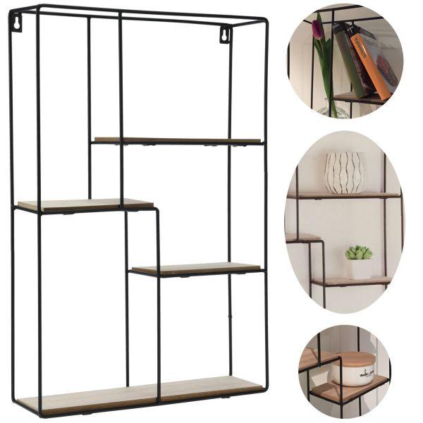 Setzkasten 4 Ebenen 37x10x55cm Metall Holz Wand-Regal Wandboard Rechteckig