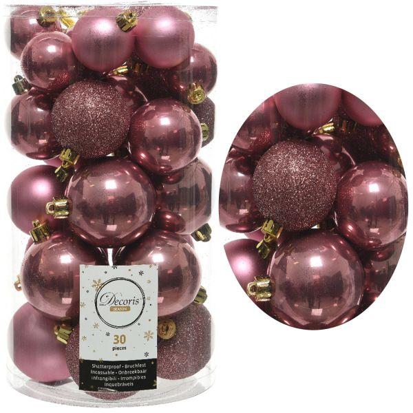 30 Kunststoff Weihnachtskugeln Rosa Samt-Pink 4cm-6cm Baumkugel Dekokugel