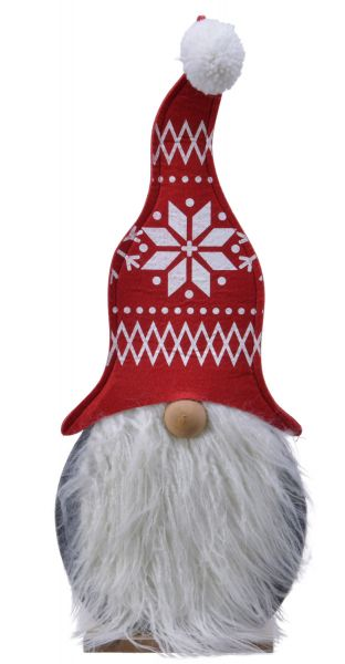 XL Holz Wichtel Zwerg Größe 57cm Filz Fell Deko Weihnachts-Figur Dekoration