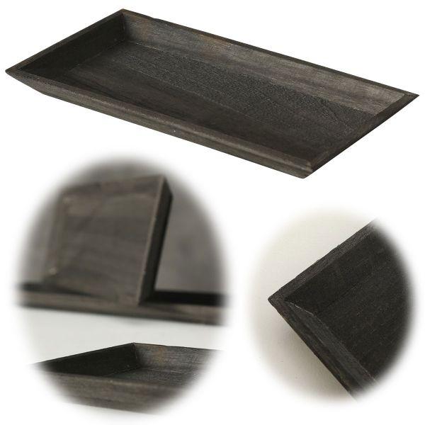 Holz Deko-Tablett Shabby Schwarz 30x16cm Kerzen-Schale Teelichthalter