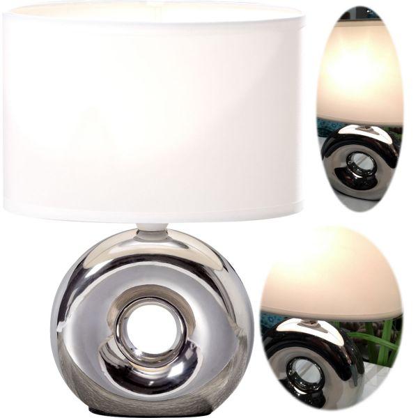 Tischlampe Napoli Kugel Silber Weiß 26cm Tischleuchte Nachttischlampe