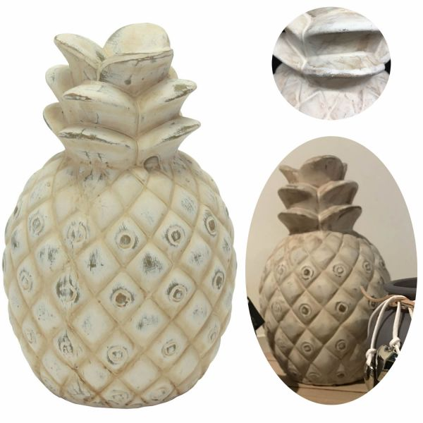 XL Deko-Objekt Ananas Keramik 21cm Grau Weiß Skulptur Tisch-Dekoration