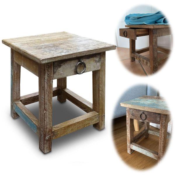 Vintage Holz Nachttisch Schublade 30cm Fußhocker Tritthocker Fußbank Bänkchen