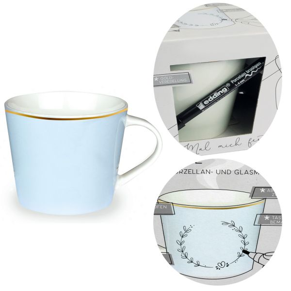 Kaffeebecher zum Bemalen 420ml Echt-Gold Universal Blau Create your Own