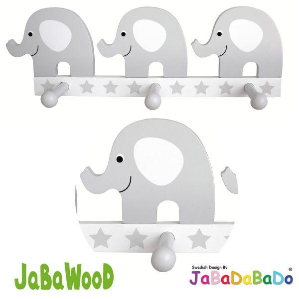 JaBaDaBaDo 3 Holz Kinder Wandhaken Kleiderhaken Elefant Grau R16021 ...
