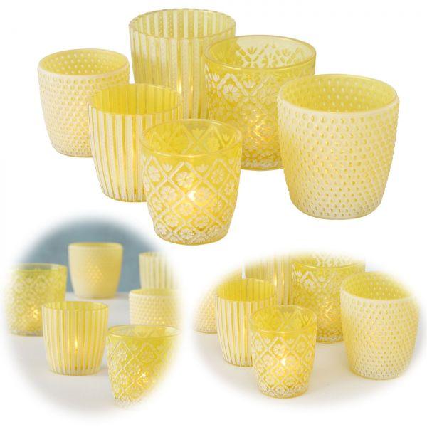 6x Glas Teelichthalter Retro Gelb 7-9cm Set Windlicht-Halter Kerzenständer