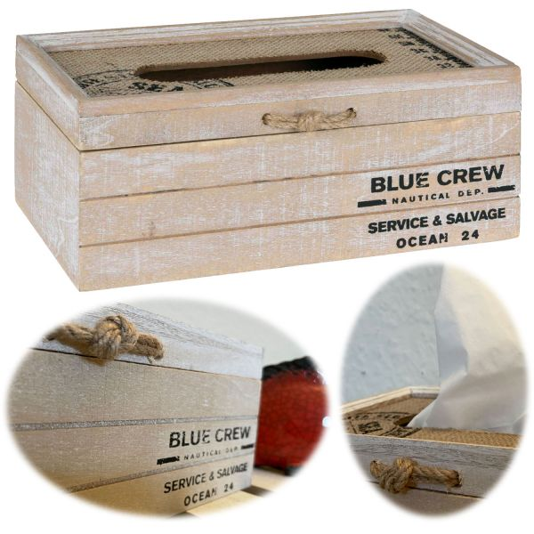 Holz Tissue-Box 24cm Maritim Braun Shabby Kosmetiktuch-Spender Taschentuch
