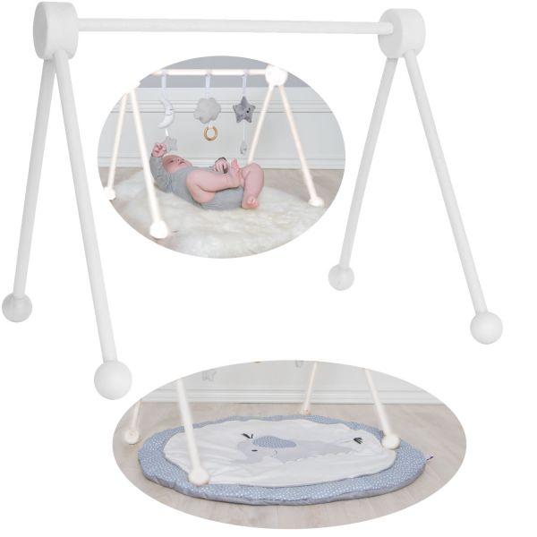 JaBaDaBaDo Holz Spieltrapez Weiß T251 Spielcenter Spielbogen Baby-Gym