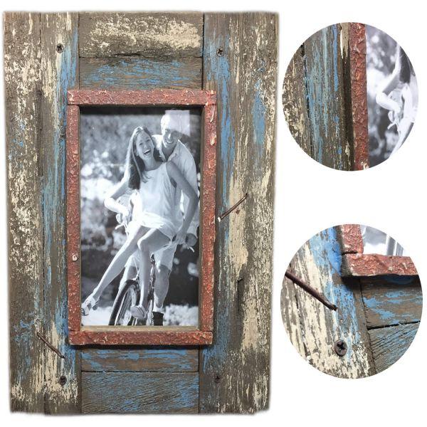 Stand-Bilderrahmen Fotorahmen Holz Vintage Shabby Retro Rost Blau 10x15cm