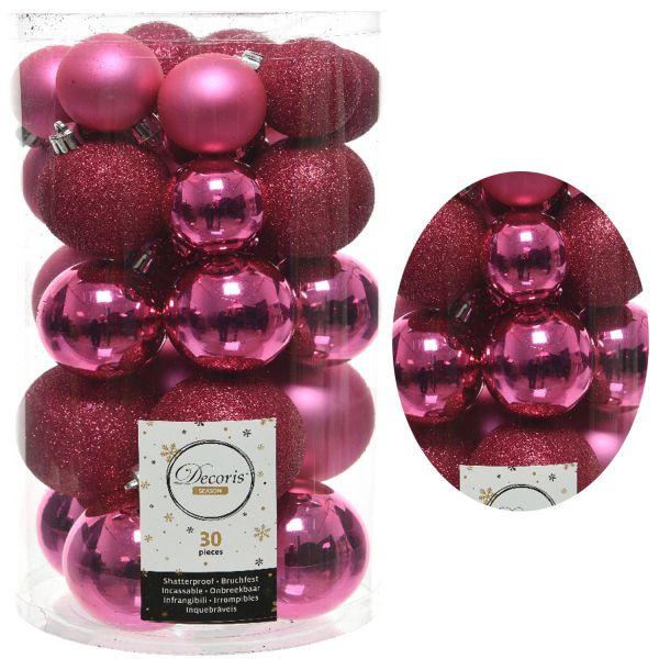30 Kunststoff Weihnachtskugeln Pink Rosa 4cm-6cm Baumkugel Dekokugel