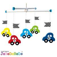 JaBaDaBaDo Babyzimmer Mobile Holzmobile Holz Auto Rennwagen Blau K8032