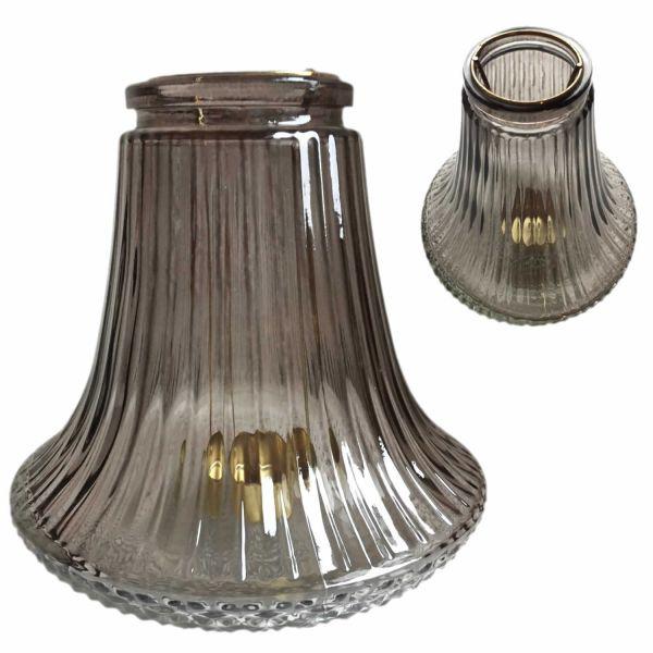 Design Teelichthalter Teelichtständer Windlicht Laterne Glas Grau