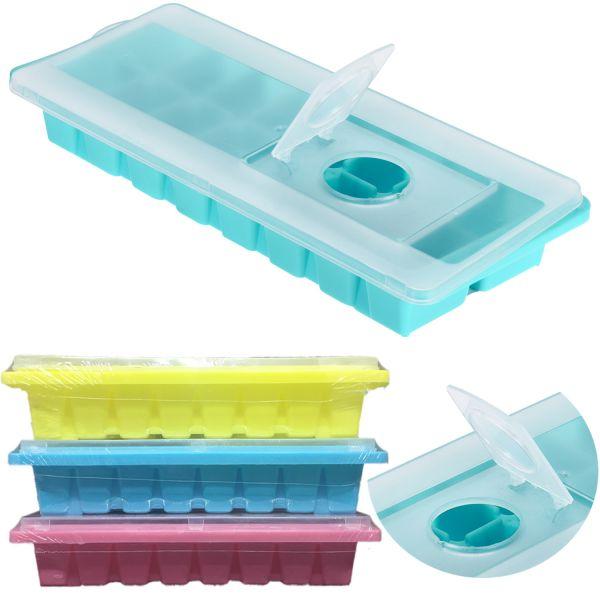 4 Eiswürfelformer mit Deckel Eiswürfelform Eiswürfelbereiter stapelbar