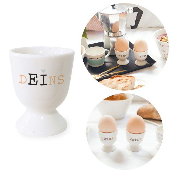 Gute Laune Eierbecher Spruch Deins Schwarz Weiß Echt-Gold Eierhalter