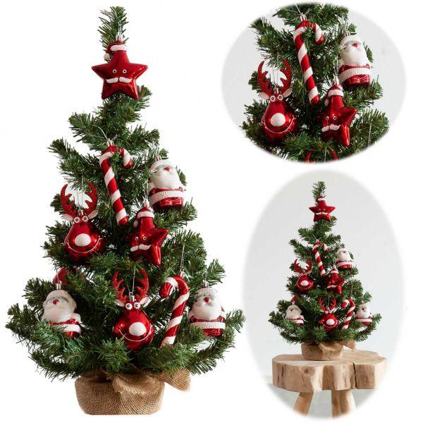 Deko Weihnachtsbaum 60cm Grün Rot geschmückt Sockel Tannenbaum Tisch-Dekoration