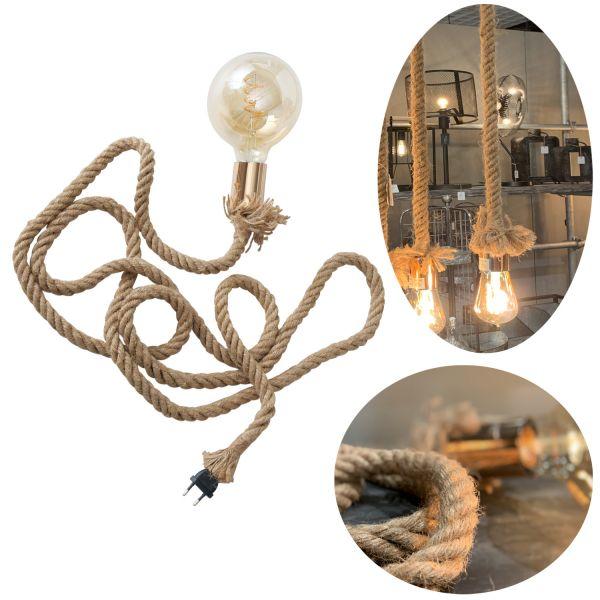 Tischlampe Hänge-Lampe Tau Sisal 300cm Seil-Lampe Pendel-Leuchte