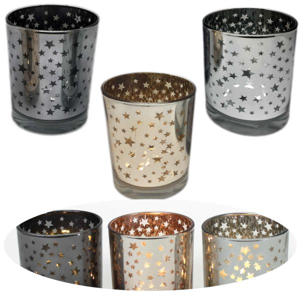 3x Windlicht Teelichthalter Windlichthalter Teelichtschale Glas Stern