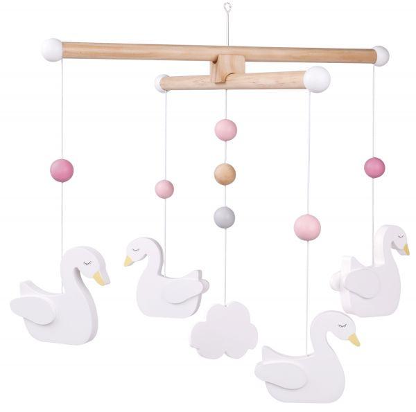 JaBaDaBaDo Holz-Mobile Schwan Braun Weiß Rosa T237 Baby Kinder-Zimmer