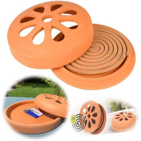 10x Räucher-Spirale Tontopf Insektenschutz Citronella Mückenschutz Anti Mücken