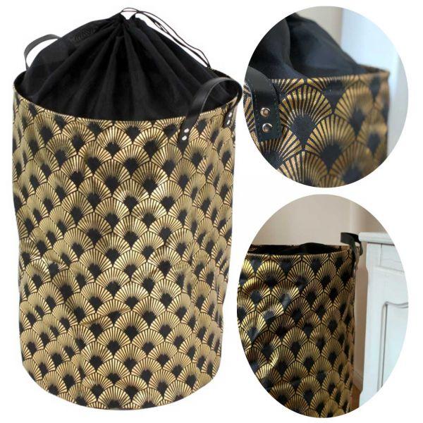 Deluxe Wäschesack Paisley Schwarz Gold 75L Wäschesammler Wäschekorb Box