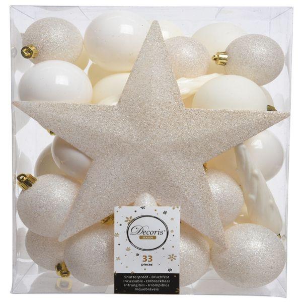 33 Christbaumkugeln Kunststoff Woll-Weiß Spitze Stern Weihnachtskugeln