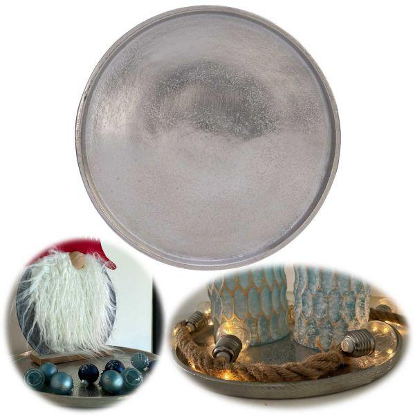 Vintage Alu Deko-Teller 30cm Silber Rund Deko-Schale Kerzentablett Servierteller