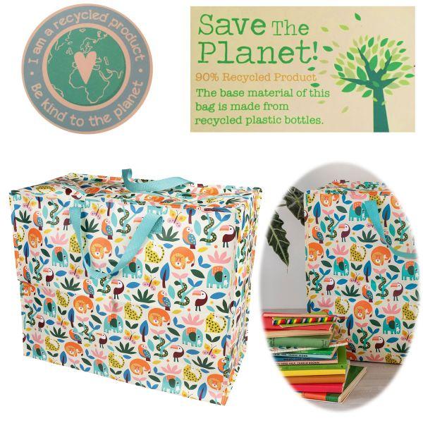 XXL Jumbo Bag Wilde Tiere 55cm Allzweck-Tasche Recycled Einkaufstasche