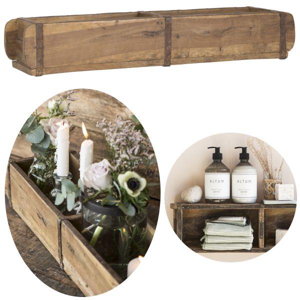 Holz Ziegelform Unika 57x15x10cm 2-fach Aufbewahrung-Box Cutlery Deko