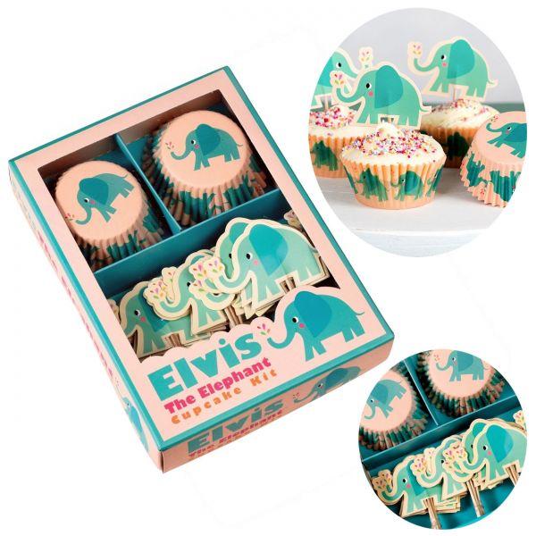48x Papier Muffinform-Set Elefant Elvis Muffinförmchen Fahnen-Picker