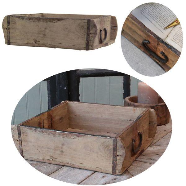 Holz Ziegelform 31x24cm Schublade alte Backsteinform Cutlery Deko