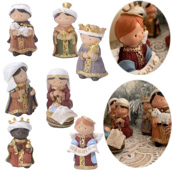 Kinder Krippenfiguren 8 Figuren Set 8cm handbemalt Krippe Krippenset