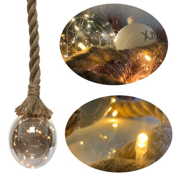 LED Licht-Kugel Hanf-Tau Sisal-Seil Deko Birne WarmWeiß Batterie