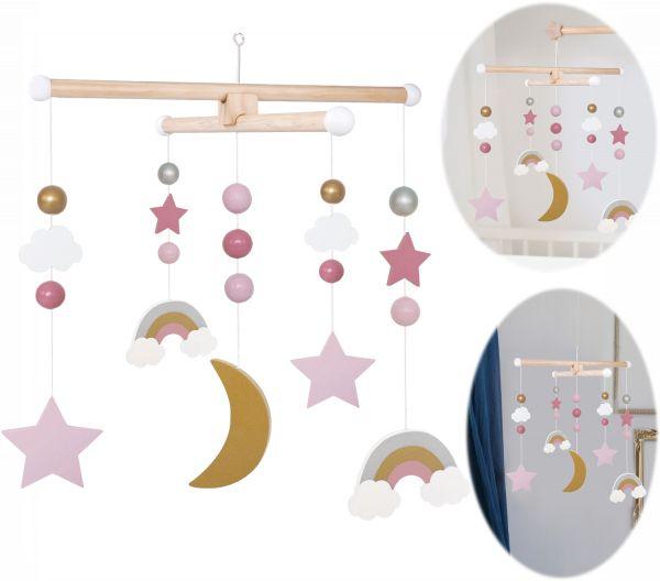 JaBaDaBaDo Holz Mobile Sterne Wolken Rose Weiß T269 Baby Kinder-Zimmer