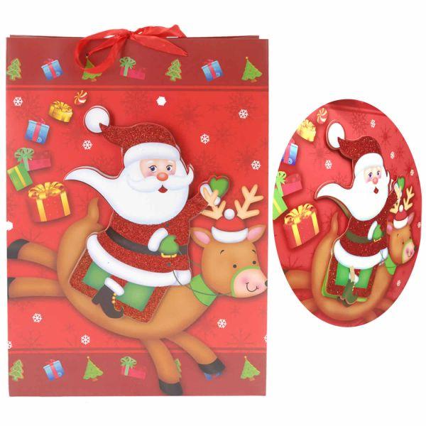4x 3D Geschenktüten 32cm Rot Weiß Weihnachtsmann Weihnachtstüte Tasche
