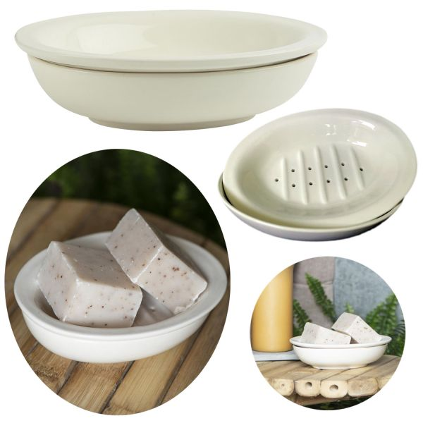 Seifenschale Keramik Creme Weiß 15cm Altum Seifenhalter Seifenablage