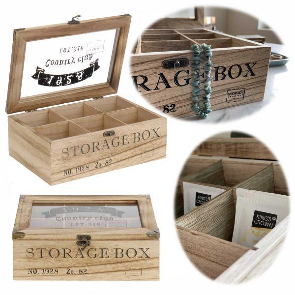 Holz Aufbewahrungsbox Teebox 6 Fächer Schmuckkiste Teekiste Teekasten