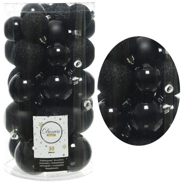 30 Kunststoff Weihnachtskugeln Schwarz 4cm-6cm Baumkugel Dekokugel