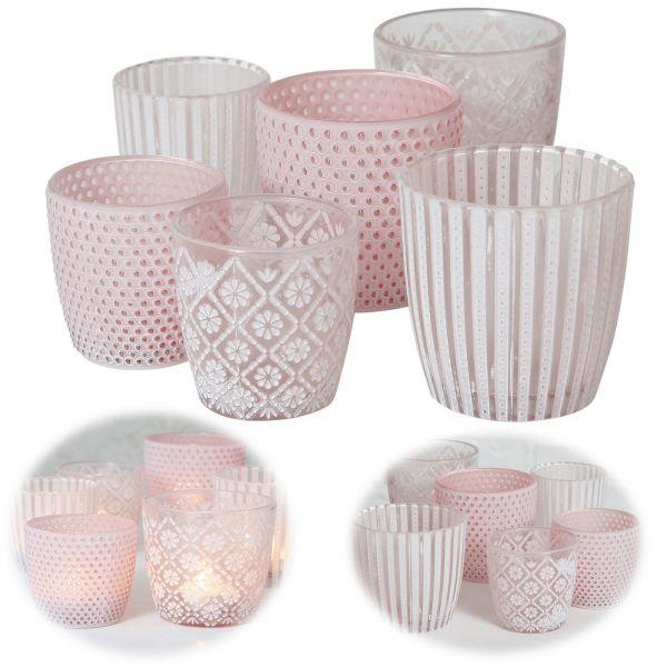 6x Glas Teelichthalter Retro Rosa 7-9cm Set Windlicht-Halter Kerzenständer
