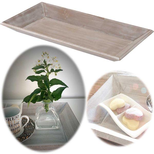 Holz Deko-Tablett Shabby Grau Weiß 40x20cm Kerzen-Schale Teelichthalter