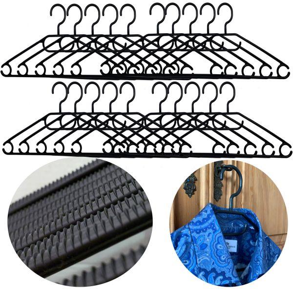 20 Kleider-Bügel Schwarz Wäschebügel Anti-Rutsch Kunststoff Hosen-Steg