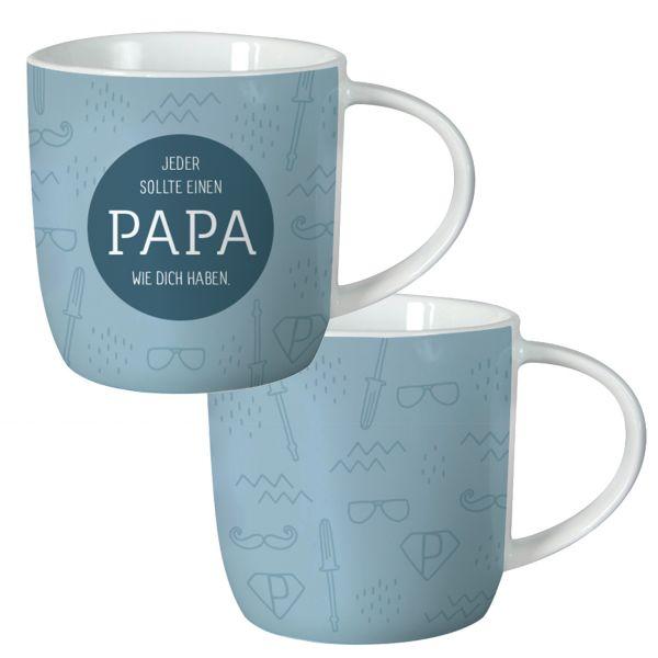 Kaffeebecher 300ml Papa Blau Weiß Porzellan Kaffeetasse Kaffeepott