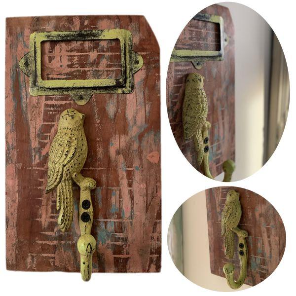Garderobenhaken Teak Holz Vogel Grün Wandhaken Wand-Garderobe Vintage Antik