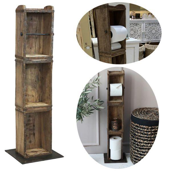 Holz Toilettenpapier-Ständer 95cm Ziegelform Klorollen-Halter Vintage